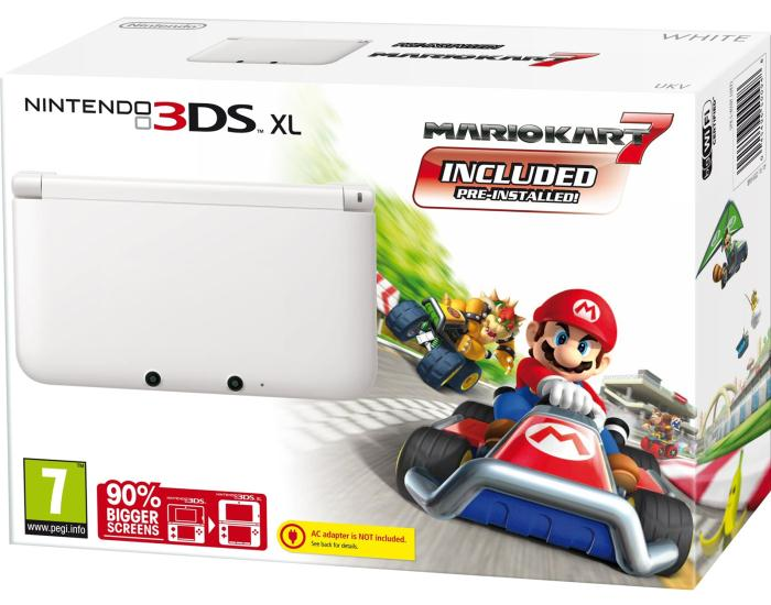 3DS XL White Limited Edition + Mario Kart 7