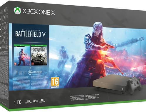 Xbox One X 1TB Battlefield™ V Gold Rush Special Edition Konsol [Kun Hos GameStop]
