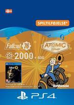 Fallout 76 - 2000 (+400 i bonus) atomer Til PS4